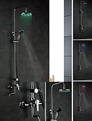 Robinet de douche - Contemporain - LED / Douchette inclue - Laiton (Chromé)
