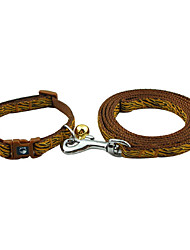 Tiger Stripe Pattern Collar with Little Bell and Leash for Dogs