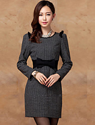 PRENAIR Polka Dots Bow Decor Long Sleeve Sheath Dress