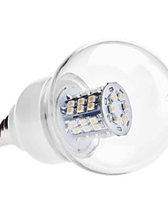 Ampoule LED Ronde Blanc Chaud (110V/220V), E14 3.5W 48x3528 SMD 230-250LM 3000-3500K