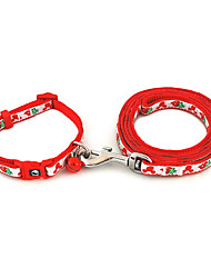 Strawberry Pattern Collar with Little Bell and Leash for Dogs (Assorted Color)