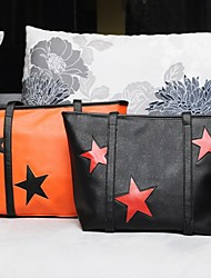 Women's Contrast Color Star Print Tote
