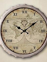 "13.5""H World Map Metal Wall Clock"