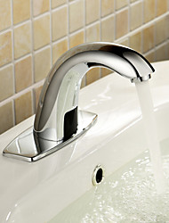 Contemporain Set de centre Tactile/non tactile with  Valve en céramique Mains libres un trou for  Chrome , Robinet lavabo
