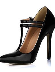 Moda verniz Stiletto Heel Bombas com fivela partido / Evening Shoes