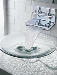 Contemporânea acabamento cromado dois cilindros Handle Cachoeira torneira pia do banheiro