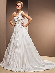 Lanting Bride® A-line Plus Sizes / Petite Wedding Dress - Classic & Timeless Fall 2013 Chapel Train One Shoulder Taffeta with