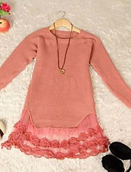 YiLianGe Lace Stitching Embroideried Sweater Dress