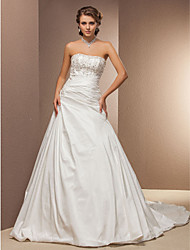 A-line Plus Sizes Wedding Dress - Ivory Chapel Train Strapless Taffeta