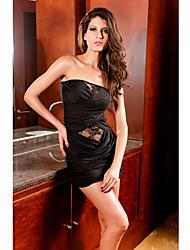 sexy bandeau vestido de renda preto das mulheres (comprimento: busto 68 centímetros :86-102 centímetros da cintura :58-79 :90-quadril 104cm)