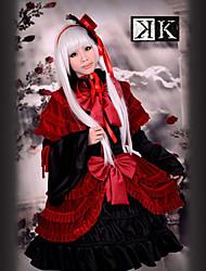 Inspirado por K Anna Kushina Anime Fantasias de Cosplay Ternos de Cosplay / Vestidos Patchwork Vermelho Manga CompridaVestido / Chapéu /