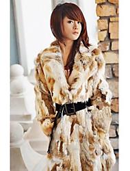 Langarm Umlegekragen Rabbit Fur Casual / Party-Coat