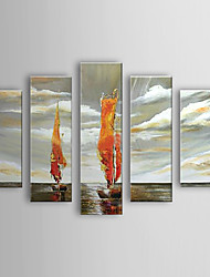 Hand Painted Oil Painting Landscape Vessel Set of 5 1303-LS0236