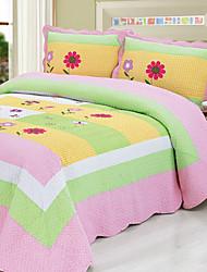 3 peças coloridas lavado algodão floral conjunto quilt