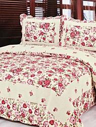 3 peças romântico rosa lavado algodão conjunto quilt