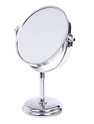 Make up Cosmetic Dual Side Normal Magnifying Stand Mirror Silver(29.5x19x10cm)