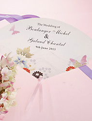 Personalized Pearl Paper Hand Fan - Spring Flower (Set of 12)