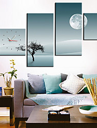 Modern Lonely Tree Wall Clock in Canvas 4pcs