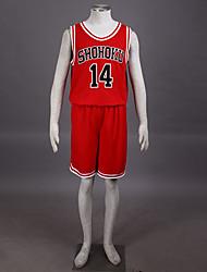 traje cosplay inspirado slam dunk Hisashi Mitsui Shohoku o ensino médio time de basquete uniforme vermelho no.14