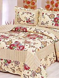 3-teiliges gewaschener Baumwolle beige floral Quilt Set