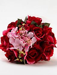 Round Red Shape Satin Wedding Bridal Bouquet