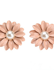 Lovely Pink Pearl/Ceramic Stud Earrings Little Daisy Flowers