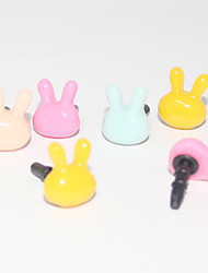Lovely Rabbit Head 3.5 MM Plastic Anti-dust Earphone Jack for iPhone and iPad