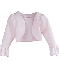 Kids' Wraps Coats/Jackets 3/4-Length Sleeve Satin Blushing Pink Wedding / Party/Evening Beading Open Front Yes