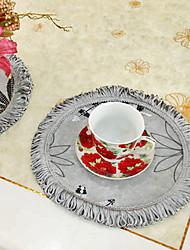 Набор из 6 полиэстер вышивки цветочные подставки серый