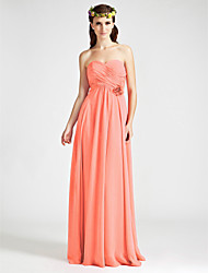 Floor-length Chiffon Bridesmaid Dress A-line Strapless / Sweetheart Plus Size / Petite with Flower(s) / Criss Cross / Ruching / Pleats