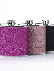 Gift Groomsman /Bridesmaid Personalized 5-oz Flask With Leatherette Cover (More Colors)