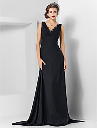 Sheath / Column V-neck Sweep / Brush Train Watteau Train Chiffon Evening Dress with Beading by TS Couture®