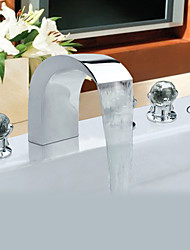 Contemporary Style Chrome Finish Stainless Steel Widespread Bathtub Faucets with Handheld Faucet