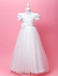 Lanting Bride A-line / Princess Floor-length Flower Girl Dress - Satin / Tulle Short Sleeve Jewel with Draping / Flower(s) / Sash / Ribbon