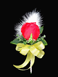 "Wedding Flowers Free-form Peonies Boutonnieres Wedding Party/ Evening Satin Cotton Red 3.94""(Approx.10cm)"