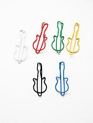 padrão de guitarra de plástico embrulhado clipes de papel (10pcs cores aleatórias)