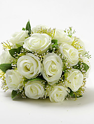 "Wedding Flowers Round Roses Bouquets Wedding Ivory Satin / Cotton Ivory 9.84""(Approx.25cm)"