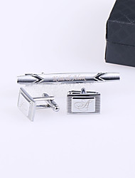 Gift Groomsman Personalized Oval Cufflinks And Tie-bar