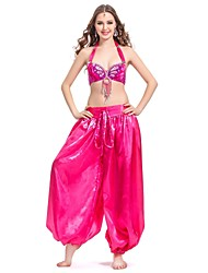 Dancewear Satin with Tassels and Sequins Belly Dance Performance Top and Bottom for Ladies More Colors