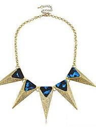 Damen Stereoscopic Trangle Royal Blue Edelsteine Halskette