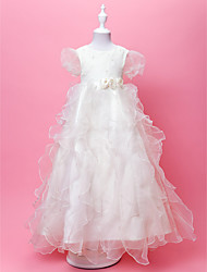 A-line/Princess Floor-length Flower Girl Dress - Organza/Satin Short Sleeve