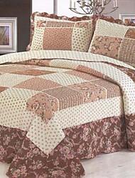 3 pcs escuro floral xadrez lavado algodão conjunto quilt