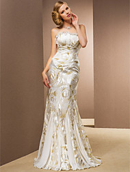 Wedding Dress Trumpet Mermaid Floor Length Stretch Satin Lace and Chiffon Strapless With Ruffles
