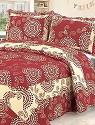 3 pcs vermelho geométrica lavado algodão conjunto quilt