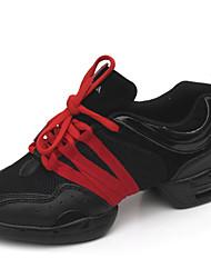 Non Customizable Women's Dance Shoes Dance Sneakers Fabric Flat Heel Black/Red/Gold