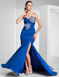 Formal Evening/Prom/Military Ball Dress - Royal Blue Plus Sizes Trumpet/Mermaid Sweetheart/Strapless Sweep/Brush Train Chiffon