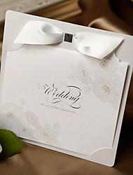 Delicate Poppy Print Wedding Invitation With Ribbon-Set Of 50/20