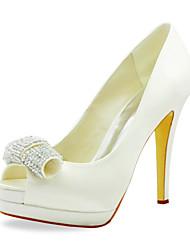 Fashion Satin Pfennigabsatz Peep Toe mit Strass Hochzeit Schuhe (weitere Farben)