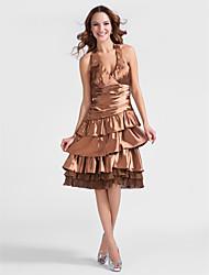 Cocktail Party Dress - Brown Plus Sizes A-line/Princess Halter Knee-length Stretch Satin