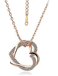 eruner®zircon collar doble corazones modelo oro chapado (colores surtidos)